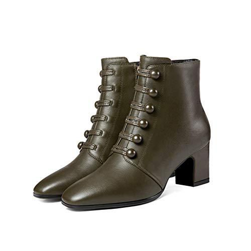 Cuero Algodón 2018 Salvajes Otoño E Martin Invierno Botas Con Feaona Moda Modelos Verde De Nuevos Gruesas Altos Green Zapatos Tacones Negro STtxEnF