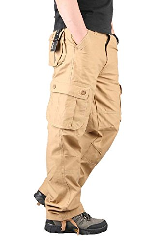 CRYSULLY Men's Cotton Straight Fit Multi Pockets Work Pants Tactical Military Outdoor Cargo Pants (No Belt)