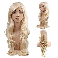 MelodySusie Blonde Long Curly Wavy Wig f...