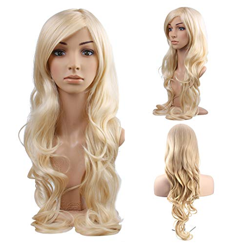 Kesha Halloween Costumes (MelodySusie Blonde Long Curly Wavy Wig for Women Girl, 34 Inches Synthetic Hair Replacements Wigs with Side Part Bangs Daily Halloween Cosplay Costume Wig with Free Wig Cap,Light)