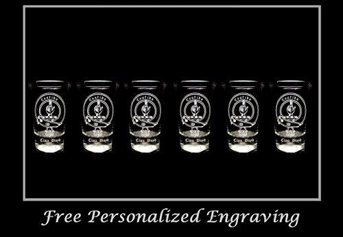Boyd Glass - Boyd Scottish Family Clan Crest Shot Glass, Set of 6 - Free Personalized Engraving, Celtic Decor, Scottish Glass