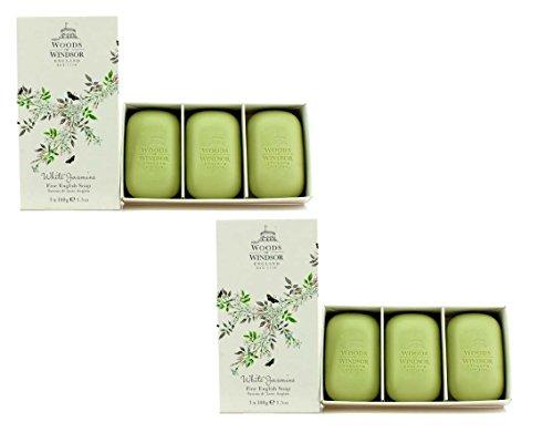 Gallet Sandalwood Soap (Woods of Windsor White Jasmine Fine English Soap - 2 pack - 6 soaps)