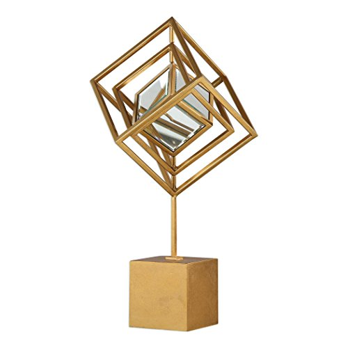 Elegant Luxe Gold Cube Cage Sculpture | Mirrored Décor...