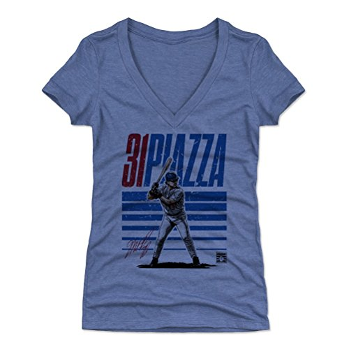 - 500 LEVEL Mike Piazza Women's V-Neck Shirt (X-Large, Tri Royal) - New York Mets Shirt for Women - Mike Piazza Starter B