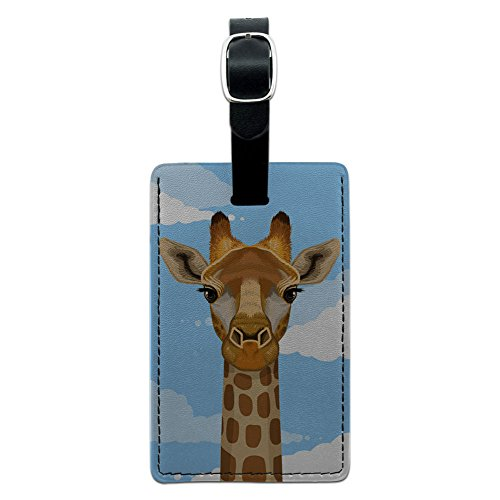 (Graphics & More Giraffe in Sky-Safari Animal Leather Luggage Id Tag Suitcase Carry-on,)