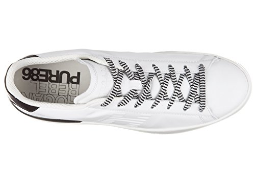 Hogan Rebel chaussures baskets sneakers homme en cuir pure 86 allacciato blanc