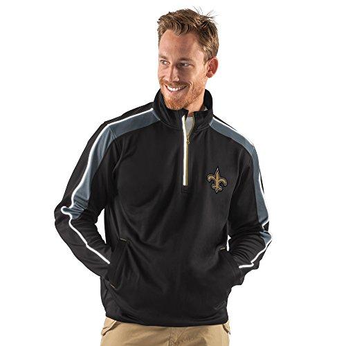 NFL New Orleans Saints Men's Synergy Half Zip Pullover Jacket, Large, Black (Saints Jacket Orleans Pullover New)