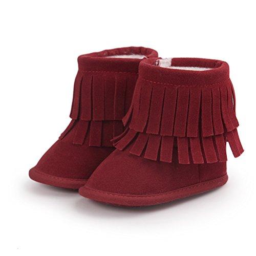- Baby Tassel Boots, Infant Tassel Plush Moccasins Non-Slip Prewalker Outdoor Warm Crib Shoe Red