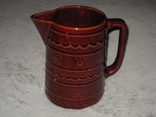 Vintage Marcrest Stoneware Colorado Brown Daisy & Dot Pattern Large 8 inch Pitcher -