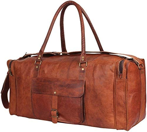 24 Inch Genuine Leather Duffel   Travel Overnight Weekend Leather Bag   Sports Gym Duffel for Men (25 inch)