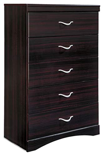 Ashley Furniture Signature Design - Zanbury Chest of Drawers - 5 Drawer - Contemporary - Merlot