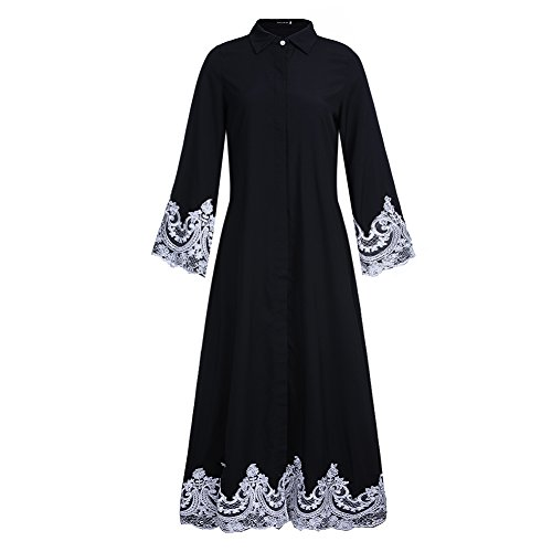 Fancyqube Women's Elegant Muslim Kaftan Dubai Islamic Abayas White Lace Hem Maxi Dress Black XL