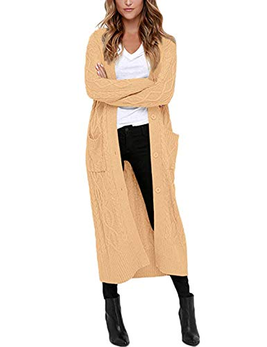 Yeokou Women's Long Button Up Solid Twisted Knitted Cardigan Sweaters with Pocket (Large, Khaki)
