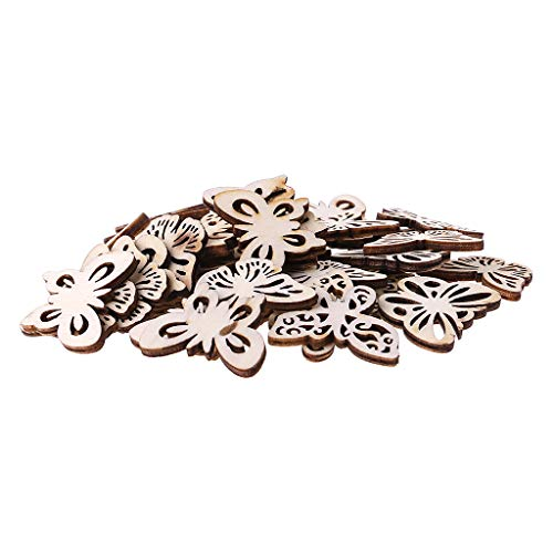 Simdoc 50pcs Wooden Butterfly Embellishments,Blank Wooden Butterfly DIY Scrapbooking Accessories Pendants Ornaments for Wedding Party Crafting Card Making ()