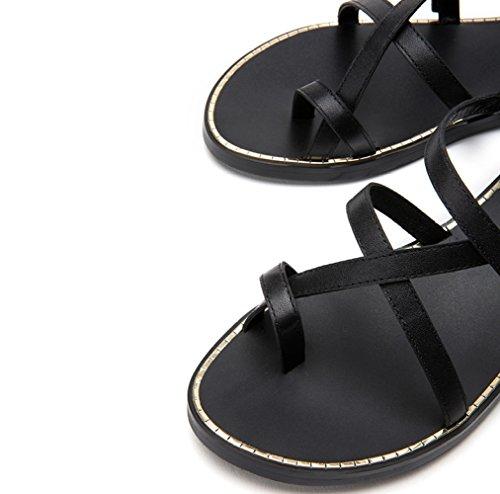Moda Sandalias Verano Sandalias Sandalias Planas de Ocasionales Color de de S de de DHG Zapatillas Punta Dulces Mujer 8qStqwdz