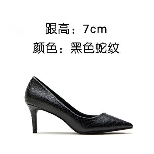 scarpe Nero moda shallowly lavoro da semplice di sottile tacco scarpa tacco singola parte unico scarpe b sesso scarpe semplice alto FLYRCX scarpe UdwqfU