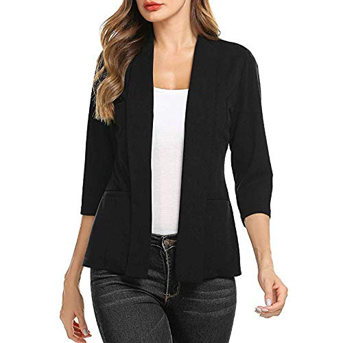 F_topbu Womens 3/4 Sleeve Blazer Stretchy Ruched Sleeve ...