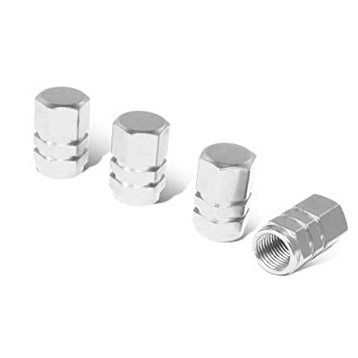 iJDMTOY (4) Tuner Racing Style Silver Aluminum Tire Valve Caps (Hexagon Shape): Automotive