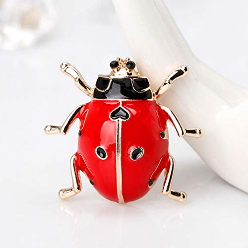 (Lovely Enamel Ladybug Brooch Pin Insect Collar Lapel Pin Women Accessories (Color - Red))
