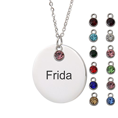 (HUAN XUN Frida Name Name Round Necklace Silver Round Initial Necklace Personal Jewelry Birthday Valentine Gift ...)