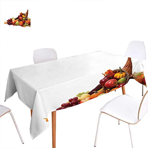 familytaste Harvest Rectangular Tablecloth Fall Arrangement with Fruits of The Season in a Cornucopia Bountiful Harvest Corn Oblong Wrinkle Resistant Tablecloth 70
