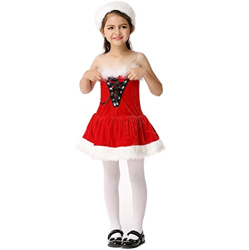 ZYZF Kids Girls Cute Christmas Suit Dancewear Further Dress Halloween Cosplay Custume -