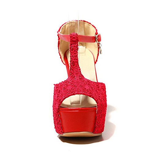 BalaMasa Womens Empty Assorted Color Imitated Leather Sandals Red hKXYGO3tX