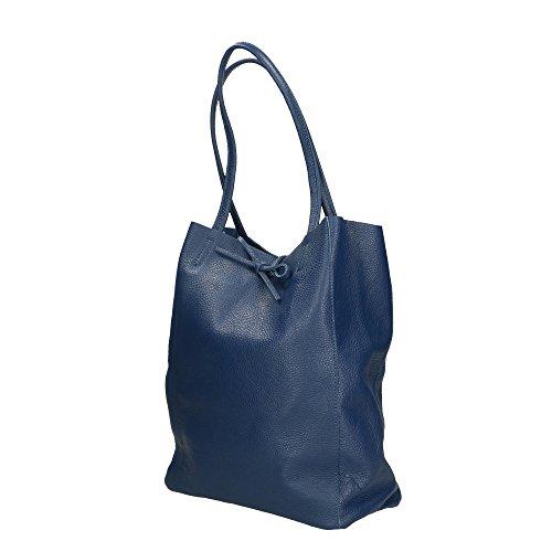 de Made Cm 27x33x13 bolsa cuero hombro in Azul genuino Aren Mujer Italy en U0EwxPq