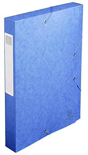 (Exacompta Cartobox Elasticated Box File with 3 Flaps and 4 cm Spine 5/10th Polished Cardboard 24 x 32 cm Pack of 10 Blue )