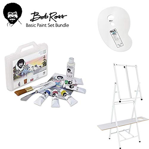 Bob Ross Basic Paint Set - 10 Piece Landscape Set with Plastic Storage and Carry Case, 2-in1 Studio Easel, Clear Plastic Palette - - Palette Easel