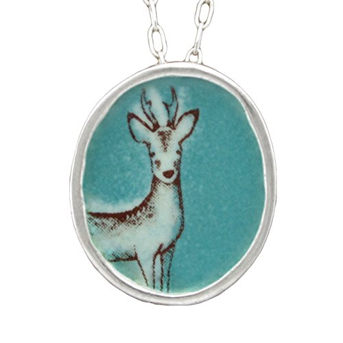 Enamel and Sterling Silver Deer Necklace on 18