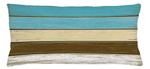 """Lunarable Wood Print Throw Pillow Cushion Cover, Colorful Rustic Wooden Planks Pattern with Grunge Worn Paint Carpentry Theme, Decorative Rectangle Accent Pillow Case, 36"""" X 16"""", Chocolate Blue"""