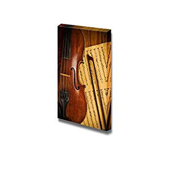 That's 100% USA Made, Lovely Creative Design, Old Used Violin and Note Close Up Vintage Retro Style Musical Instrument Concept Wall Decor