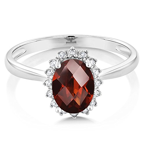 10K White Gold Oval Checkerboard Garnet and Diamond Women's Engagement Ring (1.40 Ctw Available in size 5, 6, 7, 8, 9)
