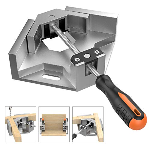 Right Angle Clamp, Housolution Single Handle 90° Aluminum Alloy Corner Clamp, Right Angle Clip Clamp Tool Woodworking Photo Frame Vise Holder with Adjustable Swing Jaw - Silver Gray