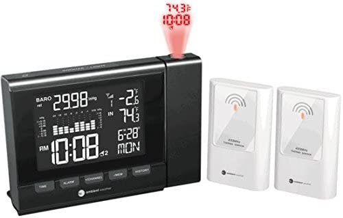 Ambient Weather WS-8400-X2 Projection Clock with Barometer, Indoor Outdoor Temperature Color Changing Display and Two Remote Sensors
