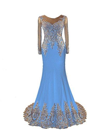 Ballkleider Gold Lang Damen Embroidery mit Fanciest Blue rmeln Abendkleider cU4ZwAyyWq