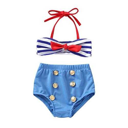Lucoo Baby Swimsuit,2Pcs Infant Baby Girls Swimwear Straps Swimsuit Bathing Bikini Set Outfits Blue