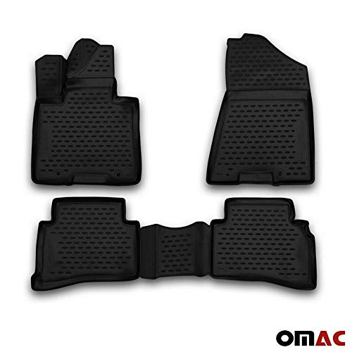 2017 Exclusive Car Mats - OMAC USA Complete Set Custom Fit All-Weather 3D Molded Black Rubber Floor Mat for Hyundai Tucson 2015-2020