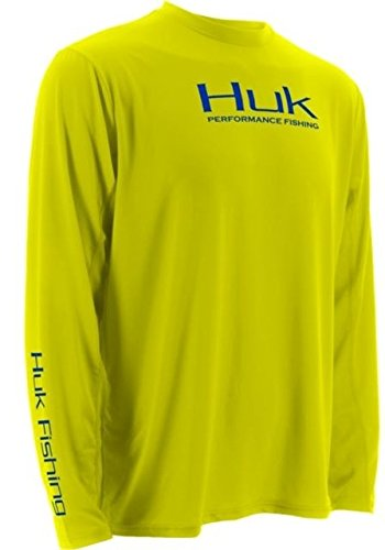HUK ICE Icon Long Sleeve, Bright Yellow, XXL