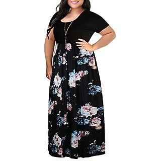 Nemidor Women's Chevron Print Summer Short Sleeve Plus Size Casual Maxi Dress(22W,Black Rose)