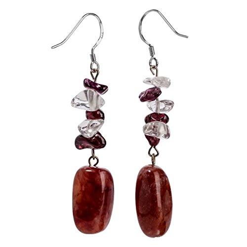 Stone Agate Earrings (YACQ Sterling Silver Agate Clear Quartz Garnet Gemstone Dangle Earrings Handcrafted Jewelry for Women (agate,clear quartz,garnet))