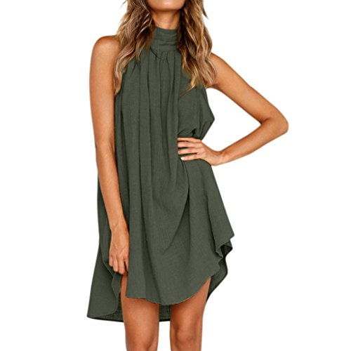 Womens Holiday Dress Irregular Back Button Turtleneck Sleeveless Sundress Zulmaliu (Green, S)
