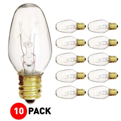 (Pack Of 10) 15-Watt Light Bulb for Scentsy Plug-In Warmer Nightlight, Mini Scented Candle Wax Warmer Diffuser and Himalayan Salt Rock Lamps & Baskets. 15C7 15W Clear Replacement Bulb, Candelabra Base