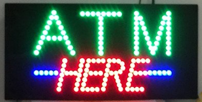24 X12  Atm Here Sign  Super Bright Led Open Sign  Store Sign  Business Sign  Windows Sign With Animation And Power Switch