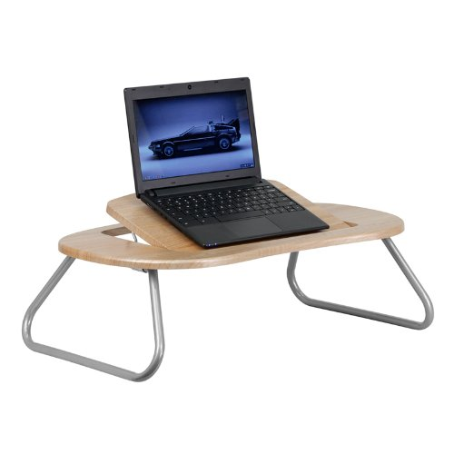 Laptop Computer Table with Dark Natural Top Angle Adjustable Desk Stand Folding by Belncik