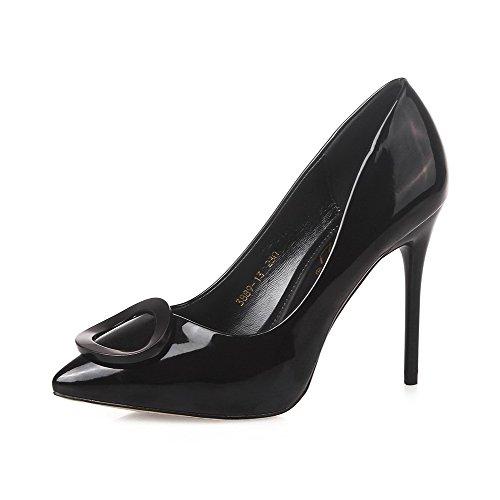 Aalardom Womens Bout Pointu Pull-pointes Solides-stilettos Pompes-chaussures Noir-10cm
