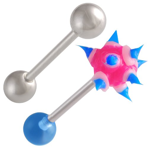 (bodyjewellery 14g 14 Gauge 1.6mm 5/8 Steel Tongue Bars Nipple Barbell Ear Rings 6mm Koosh Ball Blue Acrylic AVPP 2Pcs)