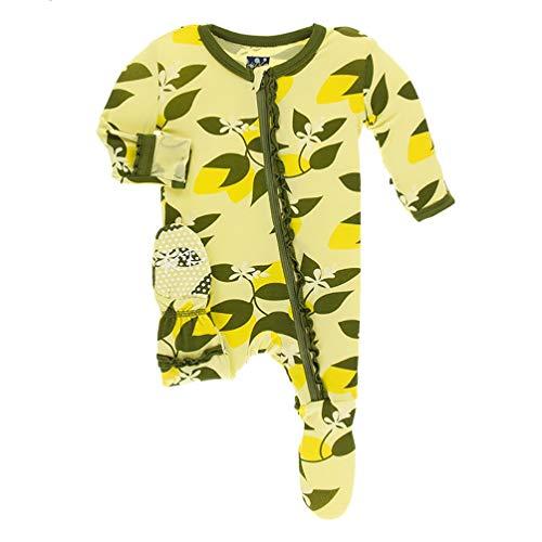 Kickee Pants Little Girls Print Muffin Ruffle Footie with Zipper - Lime Blossom Lemon Tree, 12-18 Months