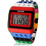 fenkoo Unisex Arco Iris Lego Digital de reloj de pulsera, rojo